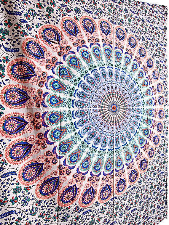 Queen size mandala tapestry bedding , hippie tabel cover tapestry online sale  #Handmade