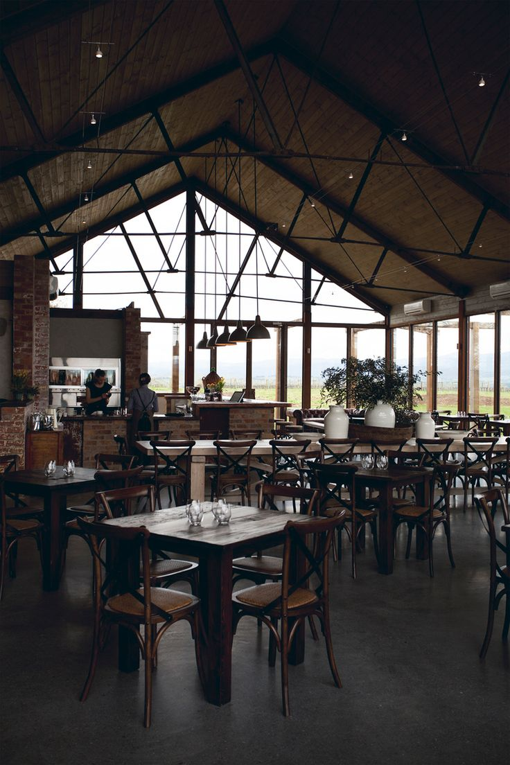Cafe with a view #highceilings #beams #windows #open #cafe #rustic #yarravalley #meletos
