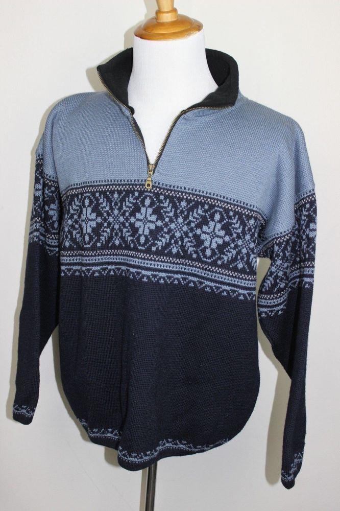 Norskwear Blue 100% Wool Nordic 1/2 Zip Sweater Made in Norway Mens L #Norskwear #12Zip