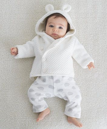 Mothercare Lined Hooded Cardigan- White. Hahaha, more ears!