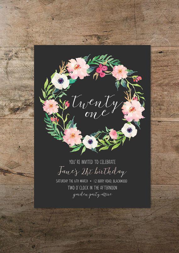 Vigésimo primera invitación floral veinte, 21 cumpleaños invitación, invitación bohemio, invitación rústica, hipster, invitación moderna por RachelVanderzon