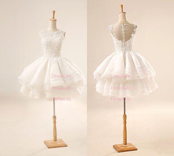 High Quality Appliques Bodice Ruffles Short Wedding Dress/Tutu Wedding Dress/Bridal/X253
