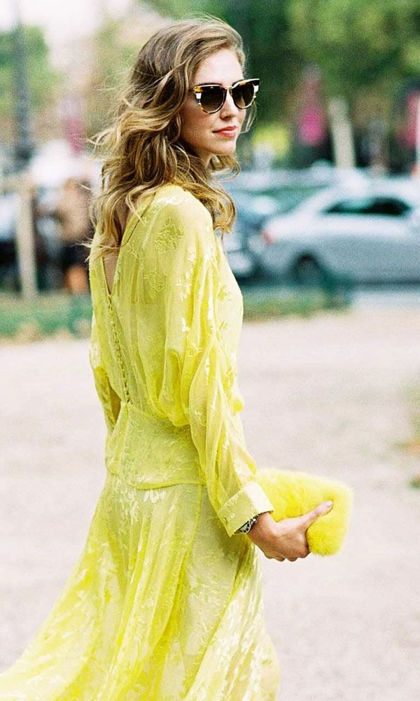 This is how to (appropriately) stand out at a wedding. Just take it from Chiara Ferragni in this beautiful yellow embellished drop waist dress. (oh and fashion and trend wizard Lizzie Leventhal  from Moda Operandi)