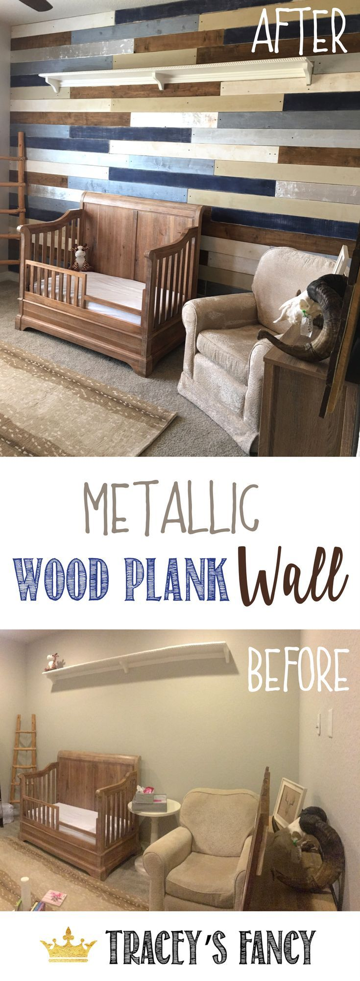 Turn a drab wall into a stunning feature wall with a Metallic Wood Plank Wall by Tracey's Fancy. Great Boys Nursery Decorating Ideas. You can customize the colors to match your nursery decor. Add texture and visual interest with a shiplap focal wall. How to Decorate a Nursery | Boys Room Ideas | Boys Bedroom | Baby Boy Decor