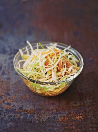 Enjoy this easy kimchi coleslaw recipe that is a delicious take on the classic coleslaw dish but without the mayonnaise and with more of spicy kick.