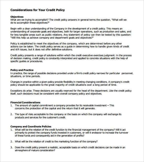 Credit Policy Template 4 Policy Template Templates Word Template