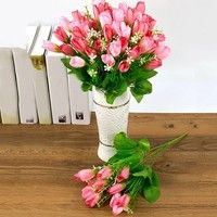 Home | 1 Bouquet 15 Heads Fake Tulip Bud Artificial Flower Wedding Party Home Decor