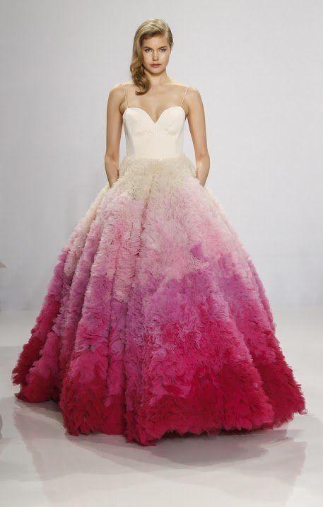 Unique Fancy Wedding Dress Designer Ombre Pink Rainbow The Velvet