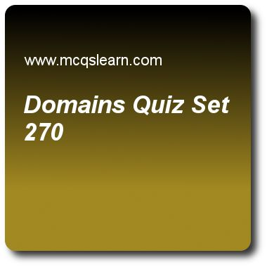 Domains Quizzes:  computer networks Quiz 270 Questions and Answers - Practice networking quizzes based questions and answers to study domains quiz with answers. Practice MCQs to test learning on domains, frame relay and atm, network multiplexing, ieee standards, data transfer cable tv quizzes. Online domains worksheets has study guide as a root server is a server whose zone consists of the, answer key with answers as subdomains, zone files, whole tree and dns servers to test exam…
