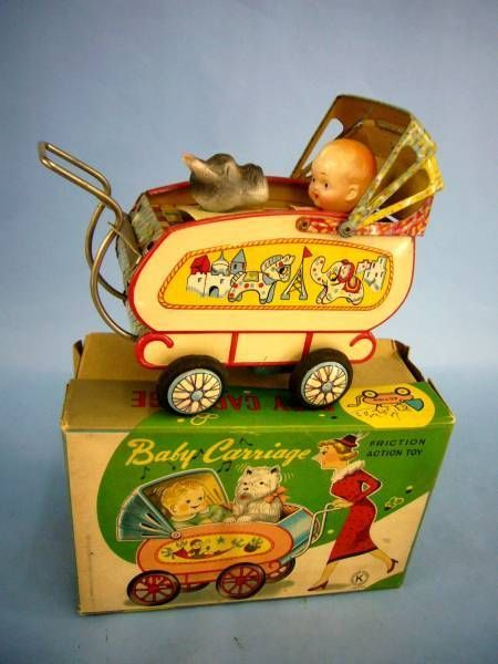 RETRO Japanese Antique Baby Carriage Friction Motion Old Vintage Litho Tin Toy