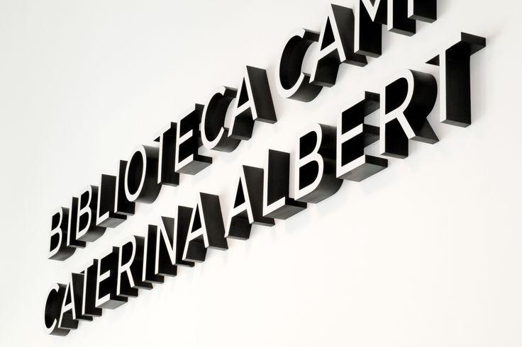 Cómo Design Studio  ALCHEMIKA Public Library Signage. Sign System for the Caterina Albert Public Library in Camp de l'Arpa. Biblioteques de Barcelona.