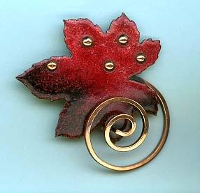 Brooch   Matisse.  Glass enamel on copper designs