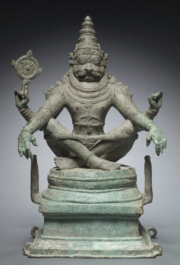 Yoga Narasimha, Vishnu in His Man-Lion Avata India, Tamil Nadu ca. 1250 Bronze The Cleveland Museum of Art