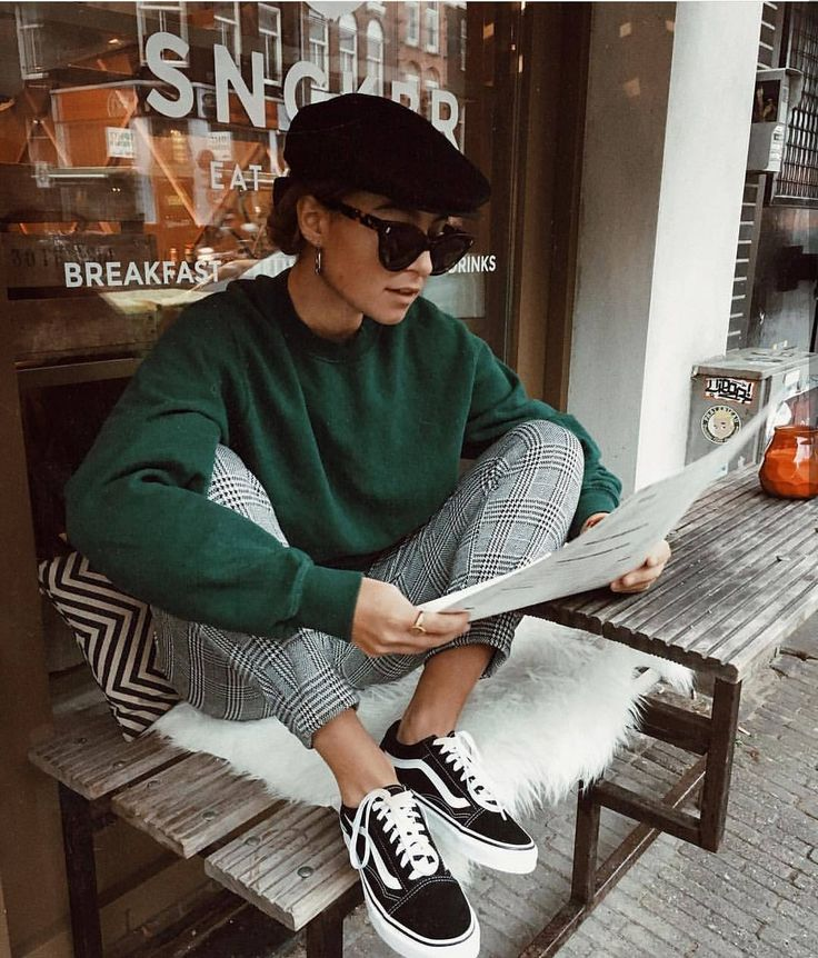 Mens inspired casual street wear: green sweater with gingham pants and old school black Vans sneakers. A beret and sunglasses too.