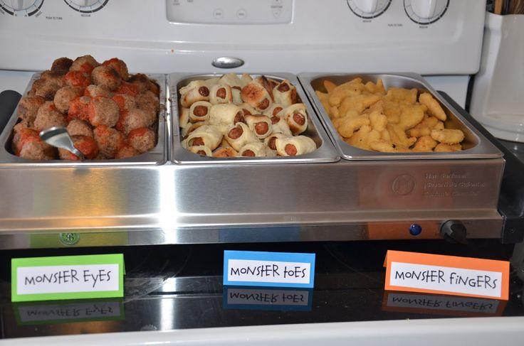 Monster food! Monster Eyes: Meatballs, Monster Toes: pig in the blankets, Monster Fingers: chicken strips