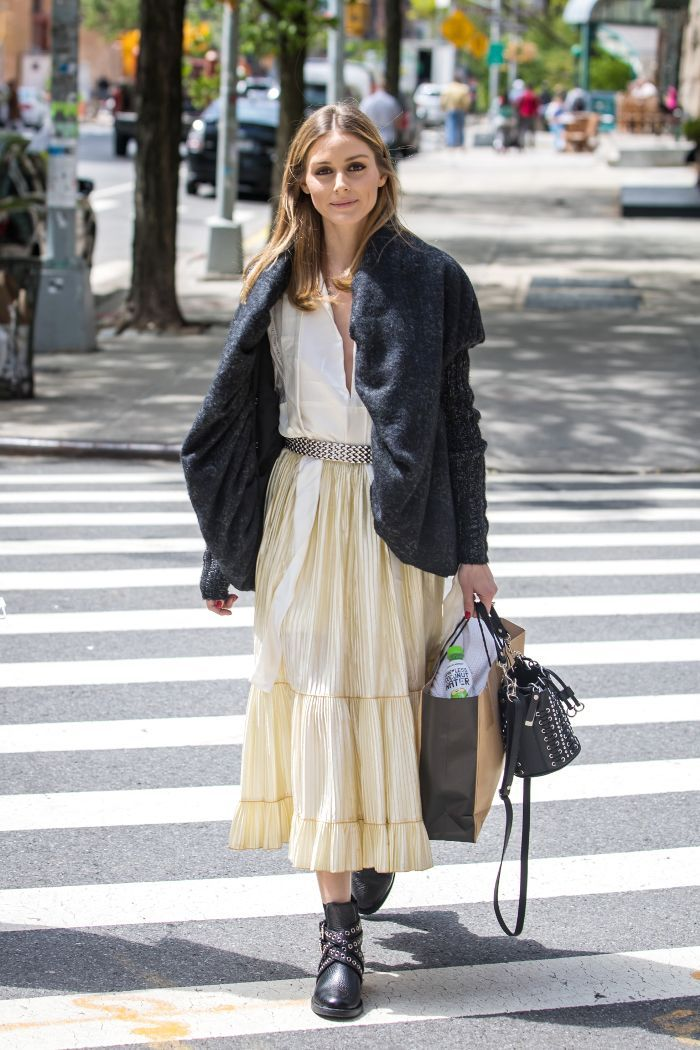 We're Into This Unexpected Prairie Skirt Look, Olivia Palermo - May 2017 via @WhoWhatWear