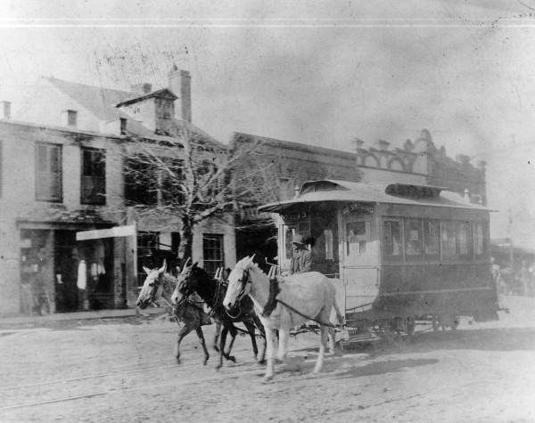 A mule drawn car at the intersection of Pensacola and Jefferson in Tallahassee. | Florida Memory