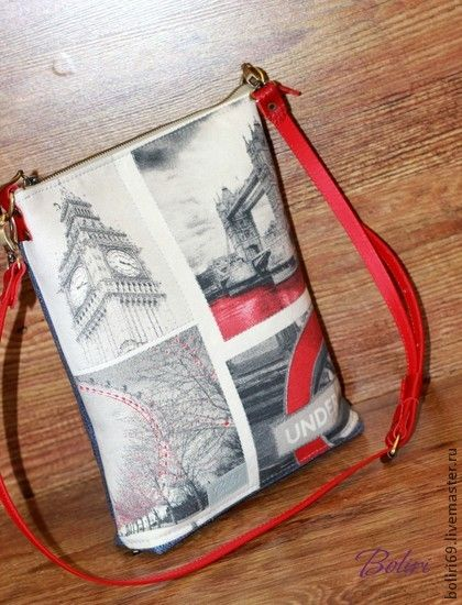 Сумка для планшета `Лондон. Фотографии на память`. Легкая текстильная сумка для ношения планшета и прочих девичьих нужностей.  Очень красивая ткань с изображением фотографий  Лондона. Низ сумки и задняя стенка из  рогожки синего цвета, дно будет всегда чистым :) …