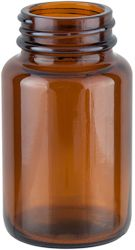 100CC 38MM 38-400 AMBER GLASS PACKER BOTTLE.  Also known as a pill packer bottle, it is commonly used in the #pharmaceutical and #nutraceutical industries for pill and capsule #packaging.