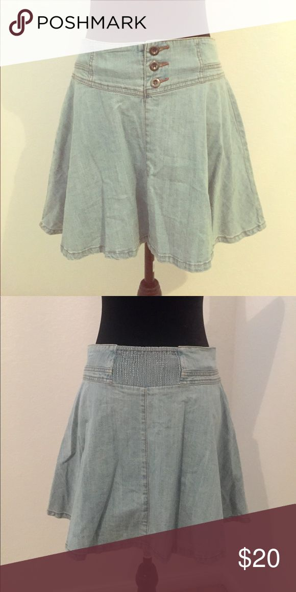 NWOT American Rag Denim Skater Skirt Great condition, never worn except to try on. Button up in front and elastic in back. American Rag Skirts Circle & Skater