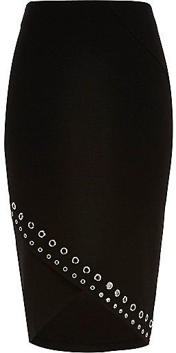 River Island Womens Black eyelet wrap pencil skirt