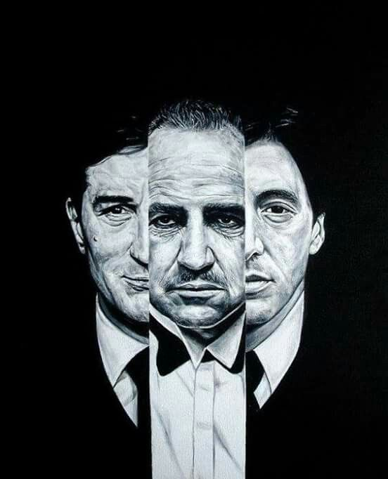 The godfather trilogy by Francis Coppola - 1970-1990 - Marlon Brando, Al Pacino and Robert De Niro