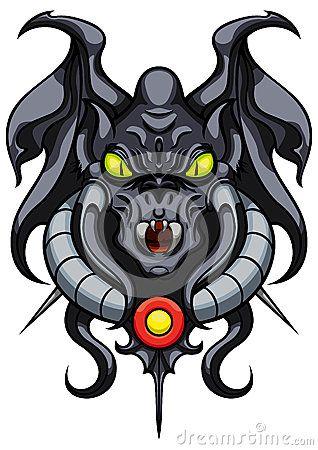 Emblema demoníaco da gárgula da fantasia