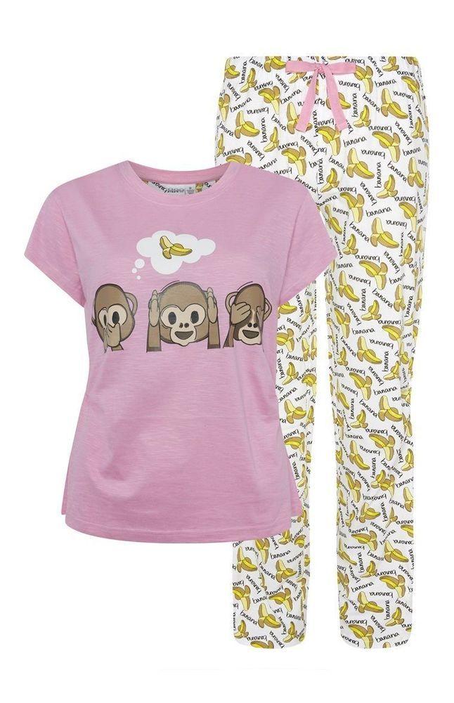 EMOJI MONKEY Ladies Pyjamas Primark T Shirt PJ Bottoms #Primark #PyjamaSets #Everyday