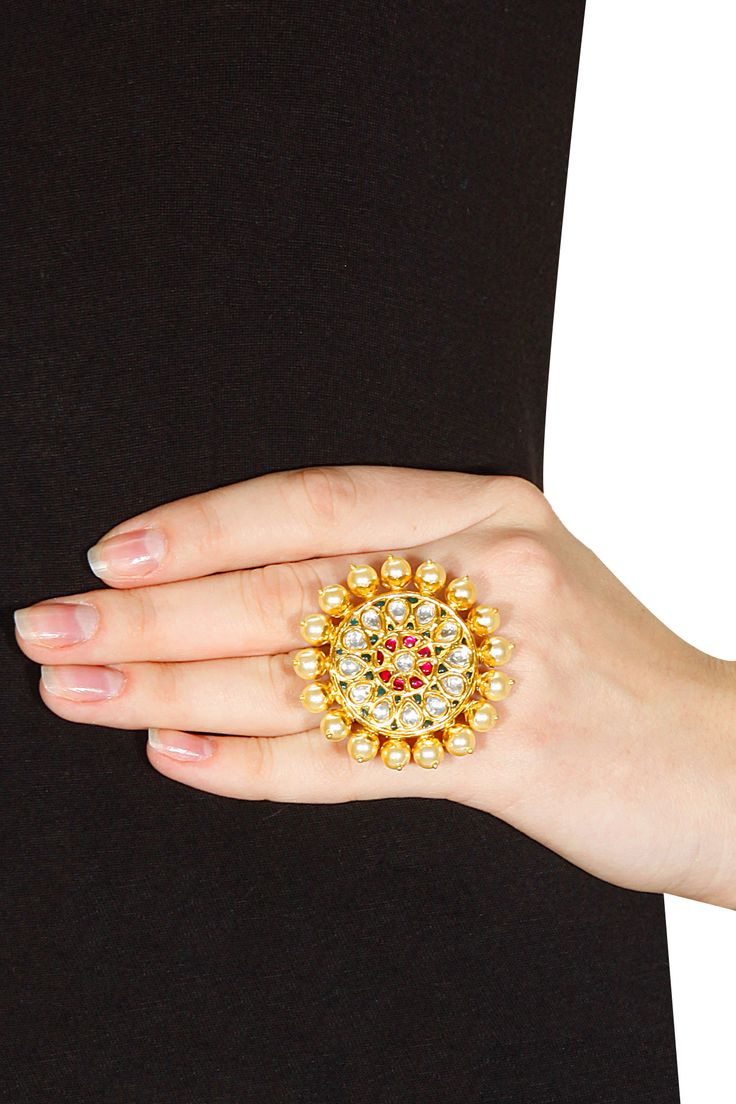 Gold plated crystal pearl ring available only at Pernia's Pop-Up Shop