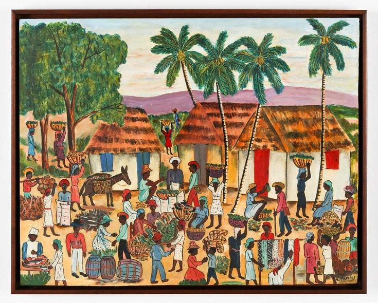 Town And Country Ford Charlotte >> Luismond Merelus (Haitian, 20th c.) Country Market ...