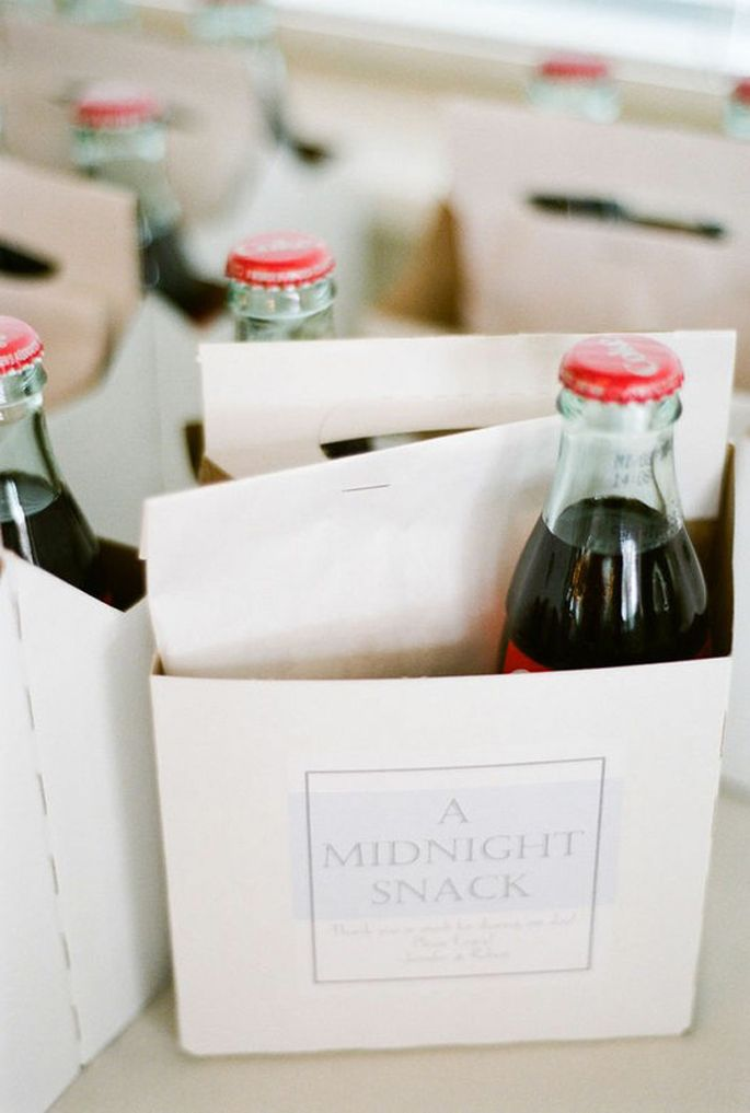 I am loving this glass bottle of coke and  midnight snack combo (include a cookie, brownie, or a family recipe) Don't forget some guests may have allergies to nuts, chocolate or other dairy-related products so offering a variety at a table for each guest to choose is a thoughtful idea!