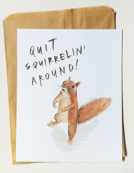 This cracks me up. (And something I sometimes have to tell myself because it is just so easy to want to watch the entire season of Orange Is the New Black in one week...or rather day.) :: quit squirrelin' around print by ohmydeer on Etsy