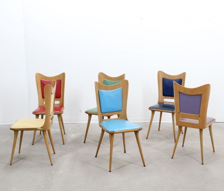 Set of 6 dinner chairs from the fifties by Carlo Ratti for unknown producer