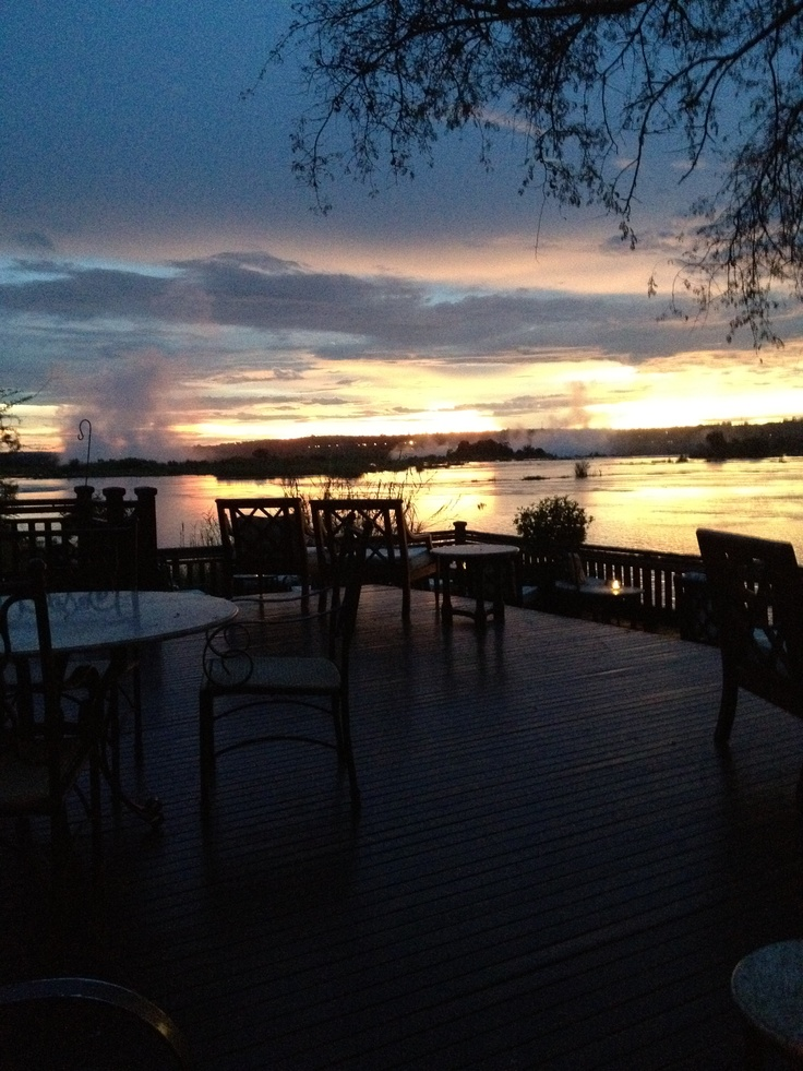 View of teh Zambezi River from the patio of the Royal Sun Hotel in Livingstone, Zambia