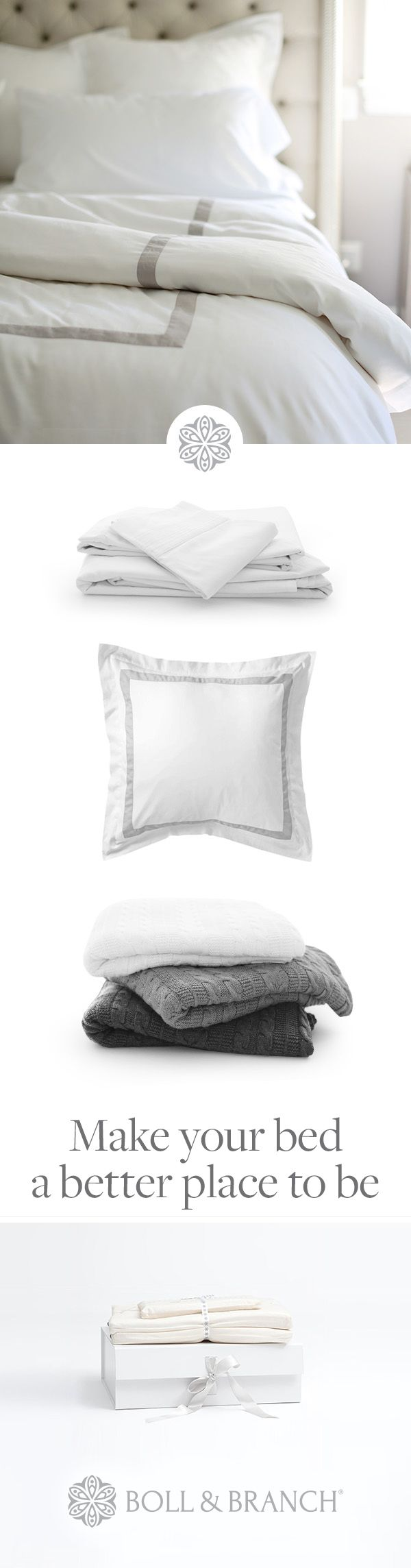 Beautiful bedding with a beautiful story. Made from the finest, ultra-soft organic cotton and the first to be certified #FairTrade because luxury should always feel good. Boll & Branch is proud to be ethically made and fairly priced, without the middleman markups.