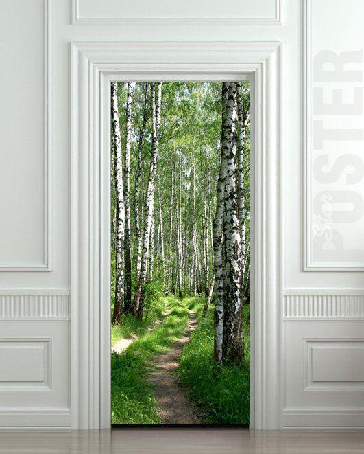 "Door STICKER wood tree forest birch way mural decole film self-adhesive poster 30""x79""(77x200 cm)"