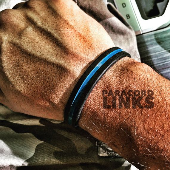 Thin Blue Line Black Silicone Bracelet