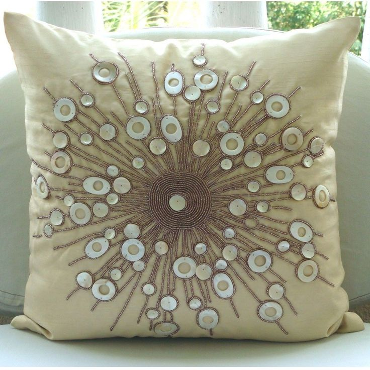 """Cream Medallion Pillow Covers, 20""""X20"""" Silk Pillows Covers For Couch - Moon Glow"""