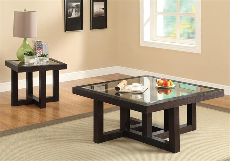 Dark Brown Glass Square Coffee Table