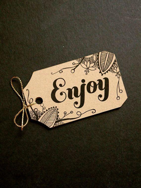 15 Cream, White Kraft Enjoy Happy Birthday Tags, Wedding / Favor / Gift / Hang Tags, Scrapbook Embellishment, Handmade Packaging, Zentangle