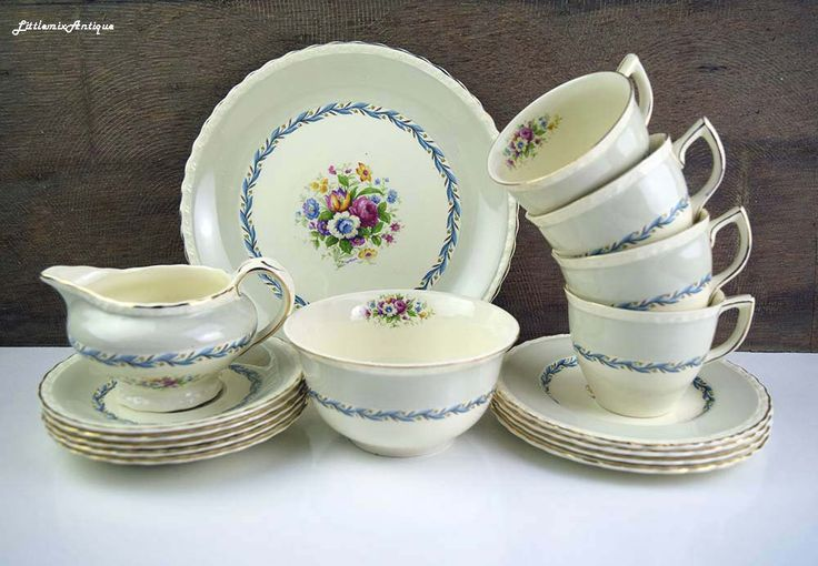 Vintage Myott Staffordshire England China Floral Decor Pale Grey Blue Border Tea Set Retro English Chinaware Vintage Tea Party Drinkware by LittlemixAntique on Etsy