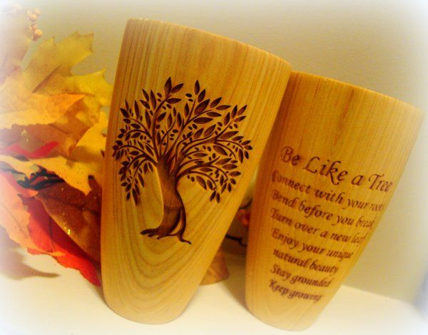 Tall 8oz Wood Engraved Versatile Cup