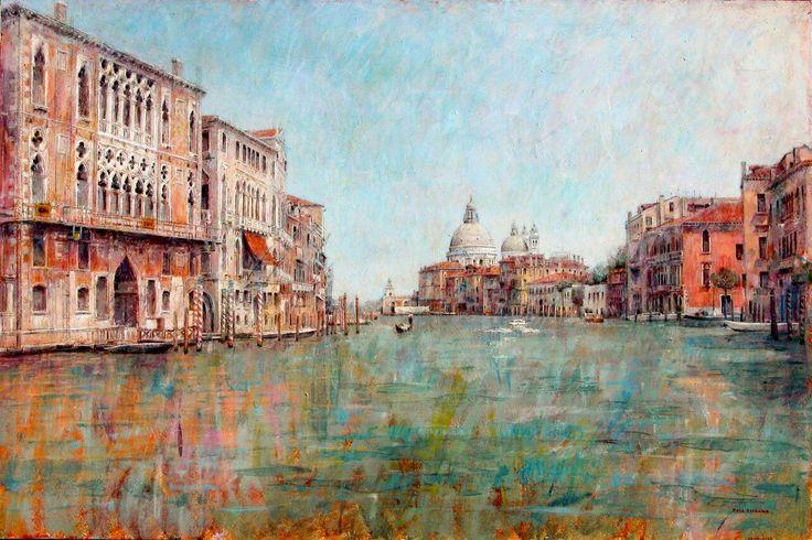 Gran Canal de Venecia. Óleo sobre tabla de 61 por 91 cm. Colección particular.