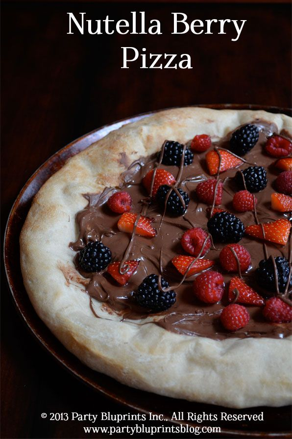 Nutella Berry Pizza  #Nutella #Pizza #Dessert. Ashley, Joshua, and I would probably LOVE this!