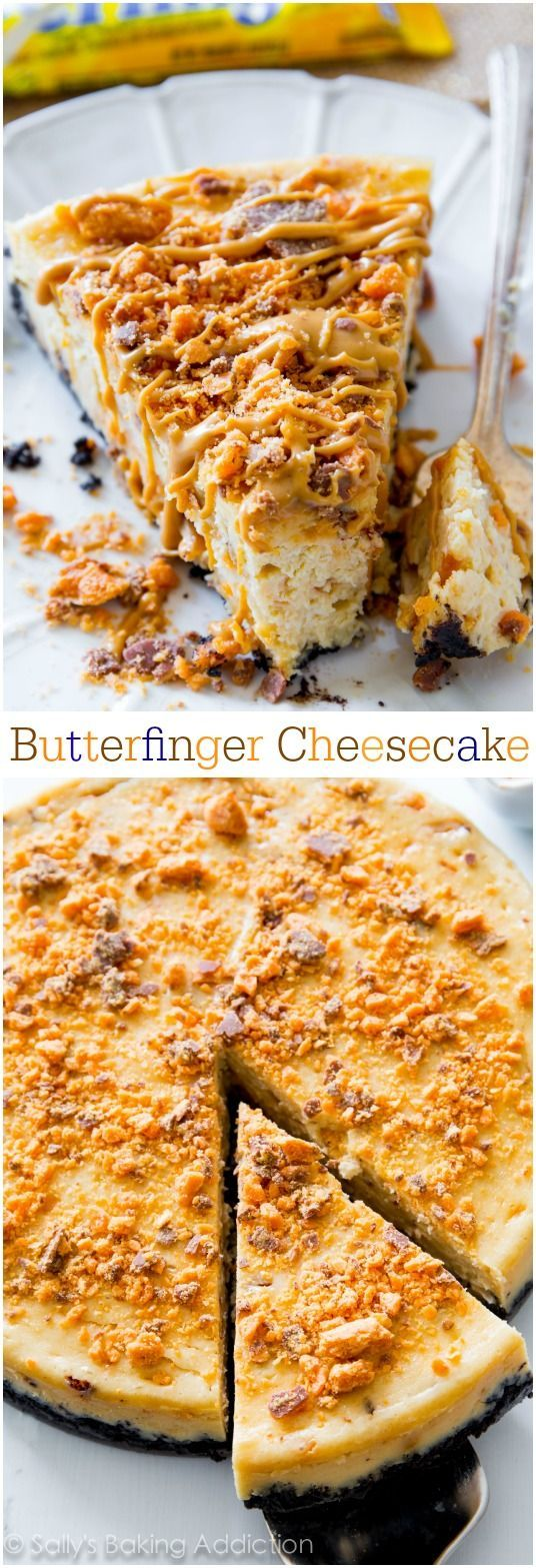 CREAMY peanut butter cheesecake filled and topped with Butterfingers! I love this cake!