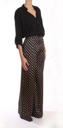 Pixie Dust Womens Black Multi Color High Waist Printed Wide Leg Pajama Style Pants-Black Multi-Large PIXIE DUST. $69.00