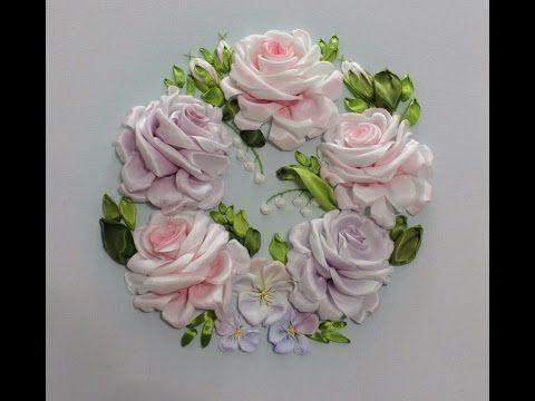 Вышивка лентами розы мастер-класс от Галимовой Алсу - YouTube