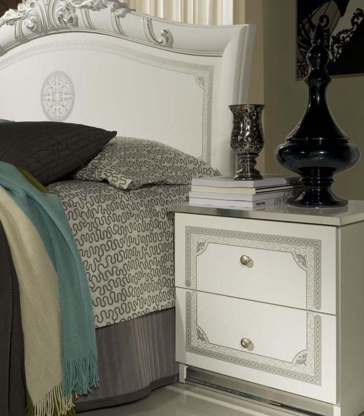 Geena White High Gloss Italian Made Bedside Cabinet