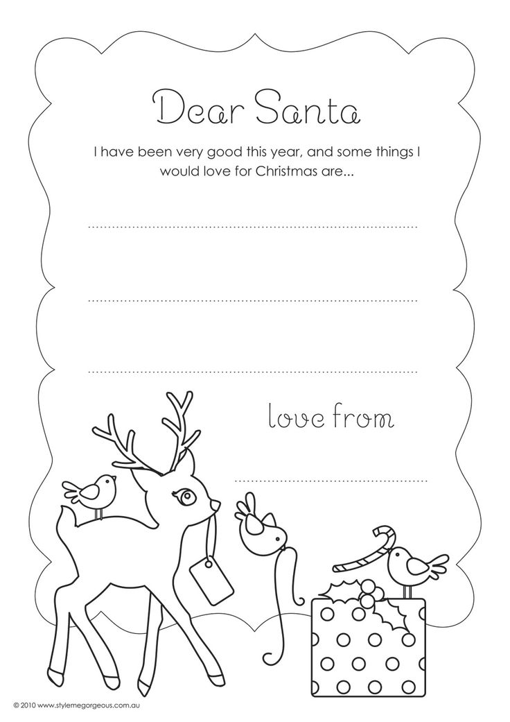 ADORABLE Printable Letter to Santa Template, this site also has a printable page for your little one to draw a picture for Santa and tons of other printables for holidays