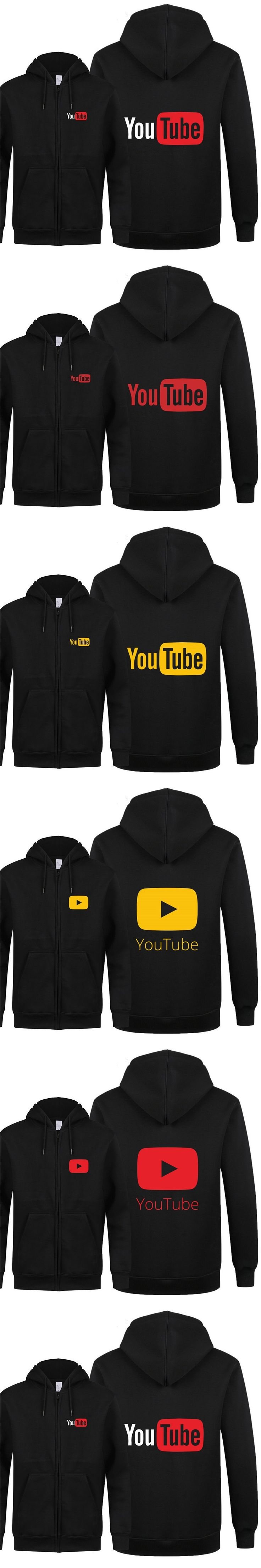 2018 New Autumn Funny Youtube Logo Printed Hoodies Men You Tube Zipper Hoodies Fleece Sweatshirt Cotton Jacket Men Coat